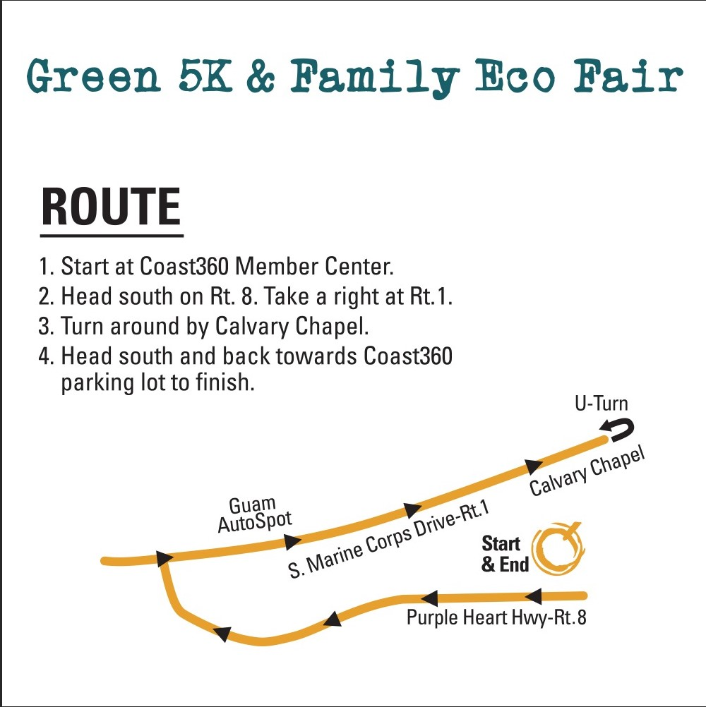 eCoast 5K Route starts at Coast360 Maite Member Center.Head south on Rt. 8 and right at Rt. 1. Turn around by Calvary Church and back towards Coast360 parking lot to finish.