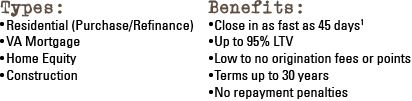 Mortgage benefits & types