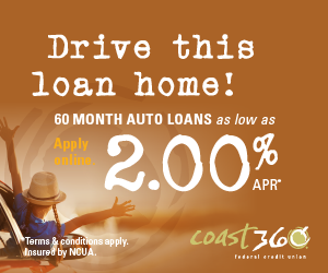 Drive this loan home! 60 month auto loans as low as 2.00% APR*. Apply online. Terms and conditions apply.